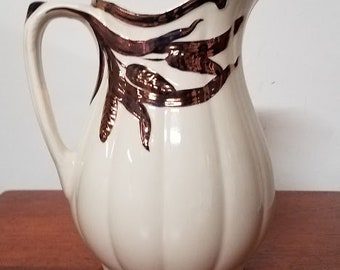 Vintage Large Wilkinson LTD Ironstone Pitcher With Purple Copper Lustre Design