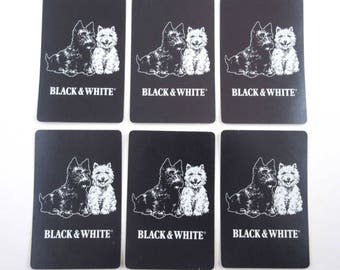 Vintage Playing Cards with Scottie or Scotty Dog and Westie for Black & White Scotch Whisky Set of 6