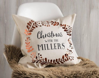 Personalised Copper Christmas Family Cushion Pillow