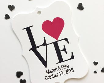 Love Favor Tag, Large Wedding Favor Tags, Favor Tags, Wedding Favor Tags  (EC-023)