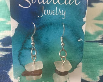 sea glass stacked dangle earrings brown and white