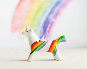 Rainbow Unicorn Totem, white unicorn tiny totem figurine, multicolor home decor, magical fantastic animals, rainbow gift idea