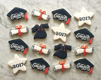 Assorted Graduation Decorated Cookies - One Dozen