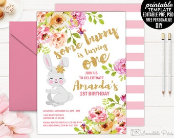 Girl first birthday invitation template printable gold girl birthday invitation template printable bunny birthday invitation watercolor floral flower gold and pink stopboris Choice Image