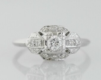 Circa 1930s Art Deco Era Diamond Engagement Ring, Crafted in 14k White Gold ft. Floral Diamond Accents, ATL #17B