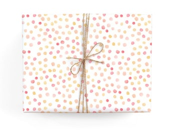 Pink and Coral Polkadots Pattern Gift Wrap - Illustrated Everyday, Just Because, Celebration, Birthday Wrapping Paper