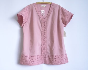 NOS Women's Blouse Embroidered Blouse Pink Blouse Cotton Blouse Short Sleeve Top Summer Women's Shirt