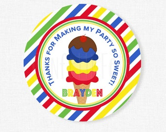 Ice Cream Party Favors, Ice Cream Favor Tags, Boy Birthday, Ice Cream Birthday, Primary Ice Cream Tag, Personalized
