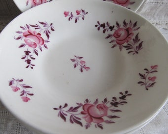 SALE Antique Set Of 5 Pink Rose 1800's, Rare Scalloped Victorian Hand Painted Pink Rose Dessert Or Bread Plates Was 34.99 Now 29.99