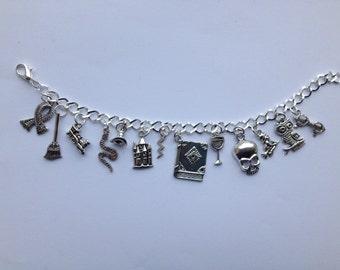 Harry potter charm bracelet, fandom, Hogwarts, silver plated, gifts for her.