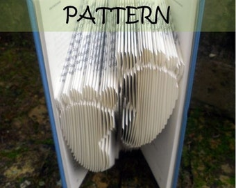 Book folding Pattern: FOOTPRINTS design (including instructions) – DIY gift – Papercraft Tutorial - perfect gift for Christening