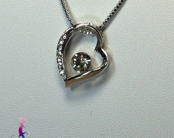 Chain and heart pendant with silver plated white Crystal A188