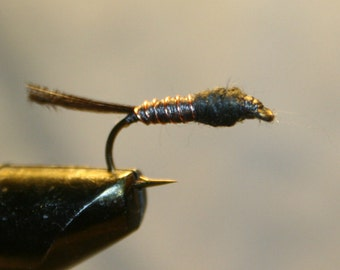 Fly Fishing Flies - Black Thread Hard Body - Copper Wire Ribbing -  Peacock Herl Tail - Black Dubbing - Feathery tail - Michigan-Gift