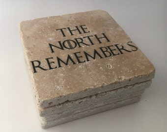 The North Remembers Game Of Thrones Natural Travertine Tile Tumbled Stone Table Coasters Set of 4 with Full Cork Bottom All Men Must Die