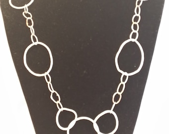 handmade,large silver chain necklace