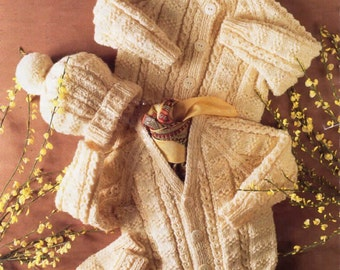 baby / childrens cardigans mittens and hat aran knitting pattern 99p pdf