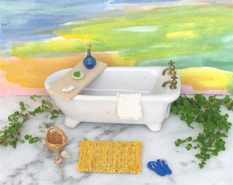 1:12 1/24 Dollhouse Miniature Doll House Rug, Small Yellow White Artisan Woven Bath Mat, Kitchen Mat, Beach Cottage Rustic Decor Furniture