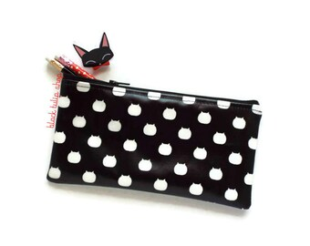 Zipper Cat Pouch Planner Supplies Pencil Pen Pouch Pastel Goth Vinyl Bag For Cat Lovers Black And White Bag Kawaii Japanese Fabric