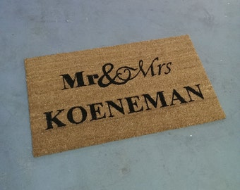 Add your last name - MR & MRS doormat (size opts)