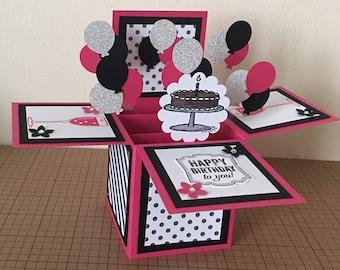 Handmade Card in a box/ unique birthday greeting card/box card/ 3D greeting card/ pink pop up balloon card.