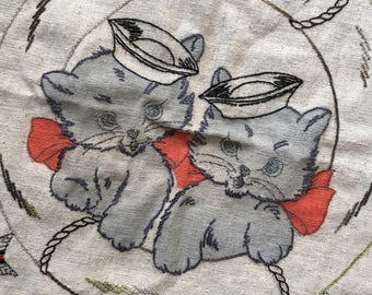 Ship Ahoy!  Two Sailor Kittens in a Life Saver--Vintage DIY Embroidered PIllow Blank