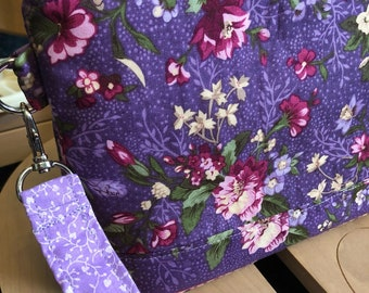 Purple Knitting Bag, Project Bag, Zippered Crochet Bag, Zipper Project Bag, Sock Knitting Bag, Sock Project Bag