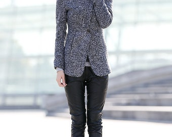 Short coat, High collar coat, wool jacket, wool coat women, custom jackets, grey jacket, gray coat, winter warm coat, short jacket C166