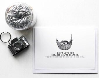 Valentines Card - Greeting Card - Anniversary Card - Gift For Her  Him - Boyfriend Girlfriend  - Funny Love -  Beard Love