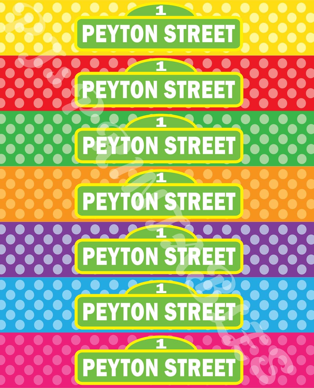 Sesame Street Polka Dot Water Bottle Labels Customized