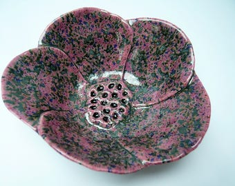 Handmade black speckled pink flower dish