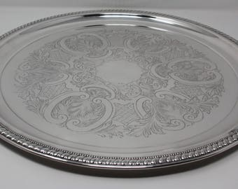 Silverplate serving tray, Vintage silverplate, round serving tray, holiday entertaining, entertaining, Party tray,