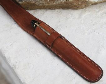 Leather Fountain Pen Case -  Dark Pumpkin