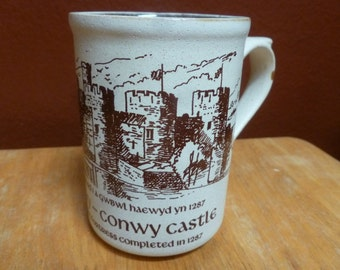 Laugharne Pottery Castle mug Conwy Castle England Handmade