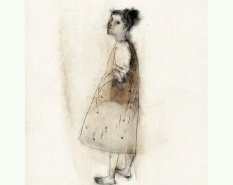 Girl drawing original engraving technique woman portrait figurative people