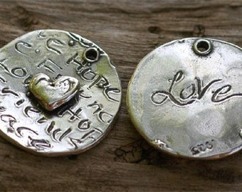 Friendship Charm in Sterling Silver with Raised Heart