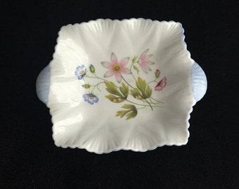 ON SALE Shelley pin dish Vintage china ring dish floral blue shelley china pin dish shelley trinket tray