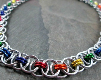 Chainmaille Necklace - Rainbow Chainmaille - Rainbow Necklace - Chainmail Necklace - Pride Jewelry