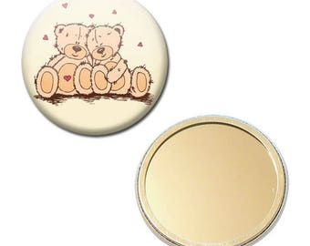 Pocket mirror 56 mm - Teddy bear plush Teddy Bears love Valentine heart Badge