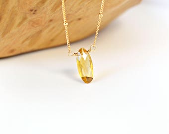 Citrine Necklace, Citrine Pendant, Layering Necklace, Oval Citrine Pendant Necklace, Yellow Gemstone Necklace, Gold Station Chain Necklace