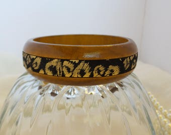 Wood Bangle with Leopard Print Strip