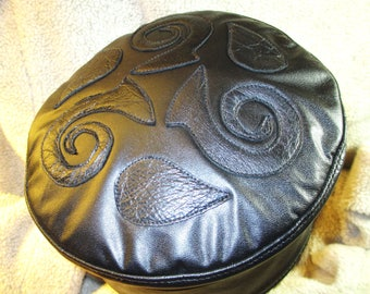 Leather Celtic Kufi Hat in Black, Leather Crown with Spirals