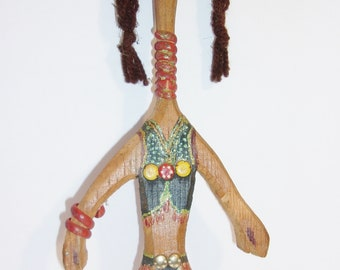 Wooden Folk Art Doll Vintage Carved Wall Hanging Tribal Ethnic Eclectic Home Decor