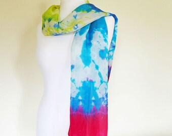 Extra-Long Silk Scarf, Shibori Hand-Dyed Silk, Tie-Dye Silk Scarf, Silk Habotai Scarf, Magenta, Blue, Turquoise, Lime, OOAK Scarf, UK Seller