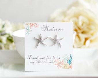 Starfish Earrings | Beach Wedding | Bridesmaid Gifts | Bridesmaid Earrings | Personalized Gifts | Weddings