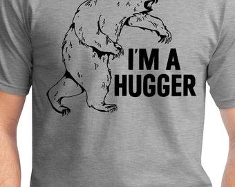 "Mens Bear T Shirt - ""I'm a Hugger"" Grizzly Bear Shirt"