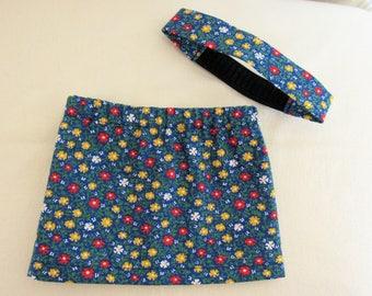 American Girl Doll Skirt With Matching Headband