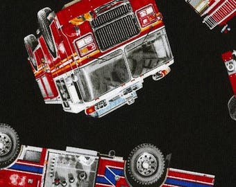 215974 black fabric with fire engine by Timeless Treasures