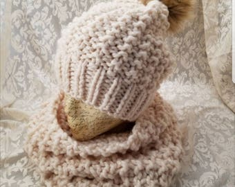 Knit hat and cowl