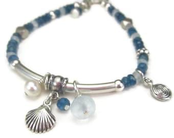 Beach Charm Bracelet, Sterling Silver and Blue Gemstone Tube Bracelet, Sea Shell, Ocean Jewelry