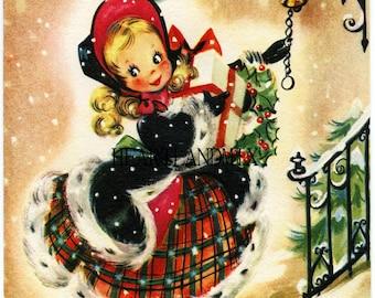 Shopping Girl Vintage Christmas Image Download Printable